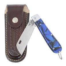 Canivete em Aço Inox e Cabo Azul com Bainha em Couro Rodeo West 29577