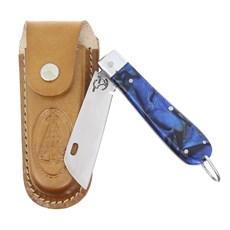 Canivete em Aço Inox e Cabo Azul com Bainha Nossa Senhora Rodeo West 29585
