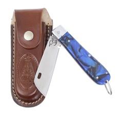 Canivete em Aço Inox e Cabo Azul com Bainha Nossa Senhora Rodeo West 29586