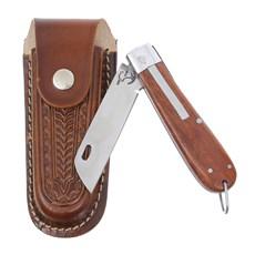 Canivete em Aço Inox e Cabo de Madeira com Bainha em Couro Rodeo West 29578