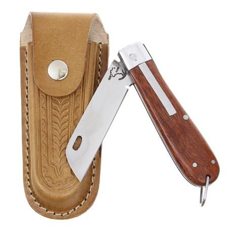 Canivete em Aço Inox e Cabo de Madeira com Bainha em Couro Rodeo West 29579