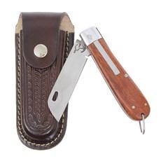 Canivete em Aço Inox e Cabo de Madeira com Bainha em Couro Rodeo West 29580