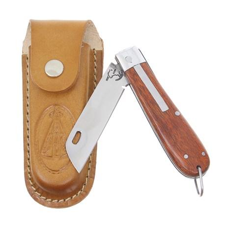 Canivete em Aço Inox e Cabo de Madeira com Bainha Nossa Senhora Rodeo West 29588