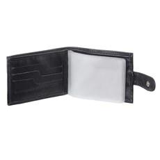 Carteira Masculina de Couro Preto com Porta Moedas e Zíper Interno DH Couros 28610