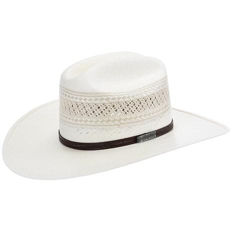 Chapéu Branco de Palha 20X Ventilada com Banda de Couro Marrom Texas  Diamond 21431 96b16bbf181