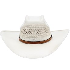 Chapéu Branco Shantung 20X Copa Quadrada Rendada Texas Diamond 21434