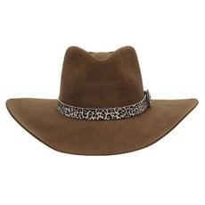 Chapéu Cavalgada de Feltro Marrom com Bandinha Estampa de Onça Texas Diamond 28948