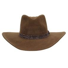 Chapéu Cavalgada de Feltro Marrom Texas Diamond Bandinha Acabamento Cobra 28820
