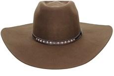 Chapéu Copa Alta Aba Larga de Feltro Marrom Texas Diamond 21021