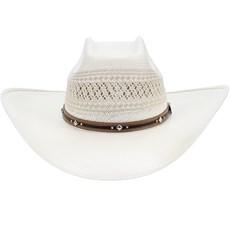 Chapéu Country Branco Palha 20X Copa Quadrada Texas Diamond 21442