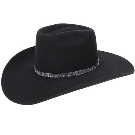 a02cadc86a4b1 Chapéu de Cowboy Feltro Preto Copa Alta Texas Diamond 20988 - Rodeo West