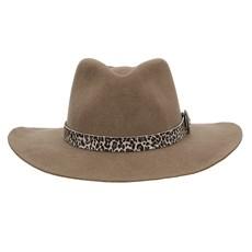 Chapéu de Feltro 3X com Bandinha Estampa Onça com Aplique Texas Diamond Forrado Castor 28953