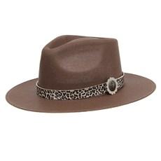 Chapéu Social Marrom com Bandinha Estampa de Onça Texas Diamond 28947