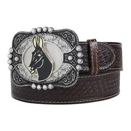 Cinto de Couro Masculino Cowboy Cow Way Marrom 22423