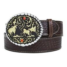 Cinto de Couro Masculino Cowboy Cow Way Marrom 22430