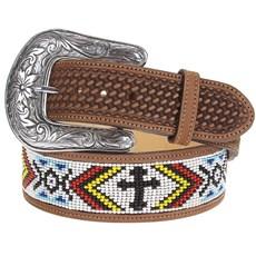 Cinto Unissex Fabricado em Couro Bordado Balaio e Miçangas - Cowboy Brand 14898