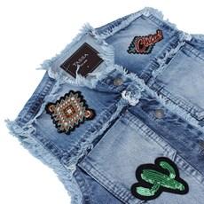 Colete Jeans Feminino Desfiado Tassa Gold 21485