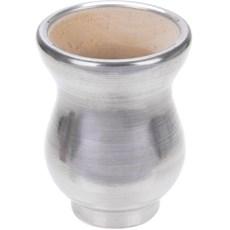 Cuia para Chimarrão em Madeira com Revestimento em Alumínio Polido - Promate 7052