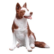 Escultura em Resina Carrocho Border Collie Marrom Home Western Decor 26960