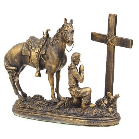 Escultura Prayer Cowboy em Resina Pintura Envelhecida Home Western Decor 29124