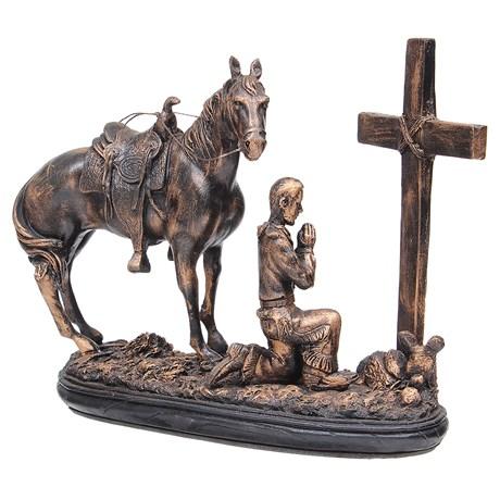 Escultura Prayer Cowboy em Resina Pintura Envelhecida Home Western Décor 29883