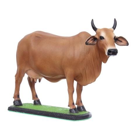 Escultura Vaca Leiteira Caramelo em Resina Home Western Decor 27507