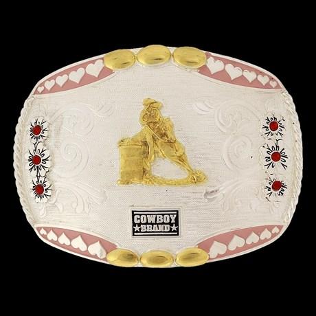 Fivela 3 Tambores com Detalhes em Strass e Banho Dourado e Prata - Cowboy Brand