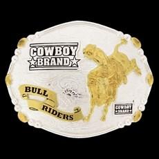 Fivela Bull Riders com Banho Dourado e Prata - Cowboy Brand 13888