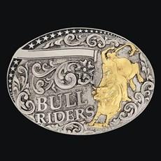Fivela Bull Riders com Banho Dourado Níquel - Sumetal 19129