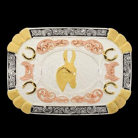 Fivela Cabeça de Mula com Banho Dourado e Prata Sumetal 28706