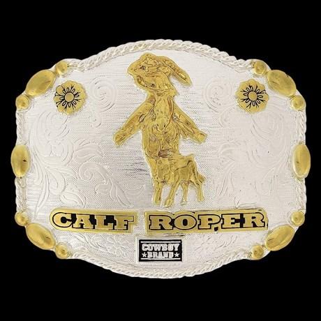 Fivela Calf Roper com Banho Dourado e Prata - Cowboy Brand