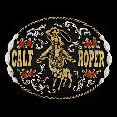 Fivela Calf Roper com Strass Fundo Negro Master 28752