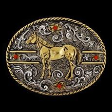 Fivela Cavalo Country Strass Fundo Prata Master 28748