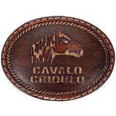 Fivela Cavalo Crioulo Oval Revestida em Couro - Pyramid Country 18755