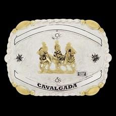 Fivela Country Cavalgada Cowboy Brand Dourada e Prata 20086