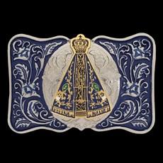 Fivela Country Nossa Senhora Aparecida Sumetal Fundo Azul 20328