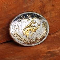 Fivela Country Oval com Banho Dourado e Prata - Rodeo West 18923