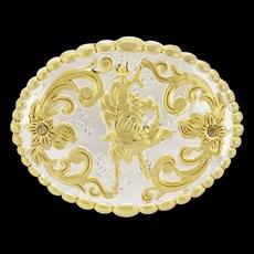 Fivela Country Oval Montaria em Touro com Banho Dourado e Prata - Rodeo West 18924