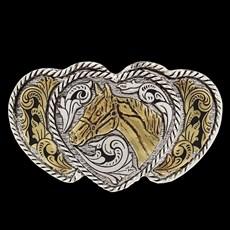 Fivela Feminina 3 Corações com Banho Dourado e Prata - 18552