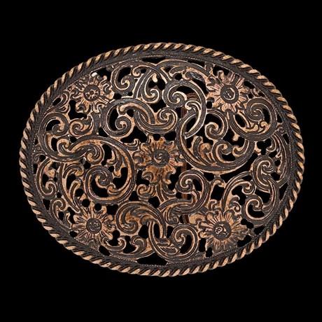 Fivela Floral com Fundo Envelhecido - Paul Western 14840