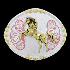 Fivela Infantil Cavalo Detalhe Rosa Master 27874
