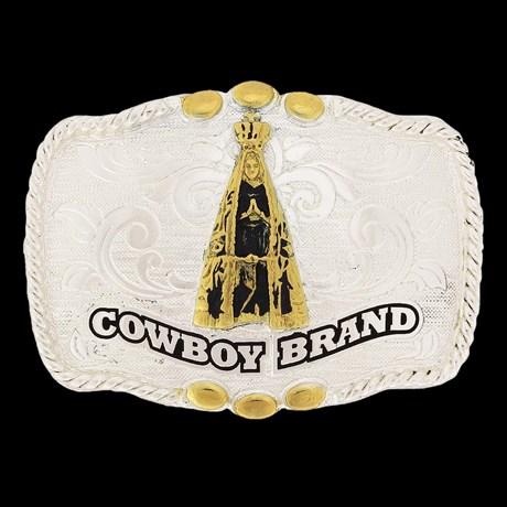 Fivela Infantil Nossa Senhora Aparecida com Banho Dourado e Prata - Cowboy Brand
