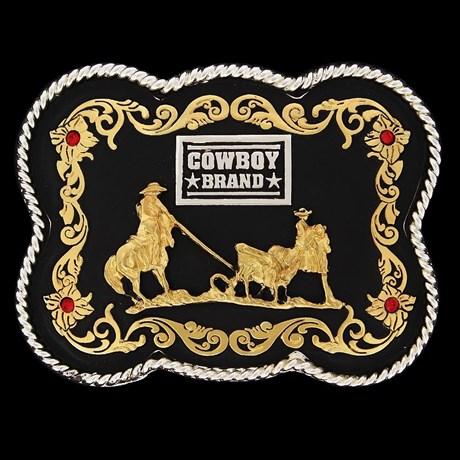 Fivela Laço em Dupla Fundo Negro - Cowboy Brand 12112