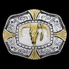 Fivela Longhorn Dourada e Prata Master 27878