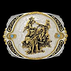 Fivela Master Calf Roper com Banho Dourado/ Prata e Detalhes em Strass 13597