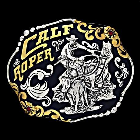 Fivela Master Calf Roper Fundo Negro com Banho Dourado e Prata