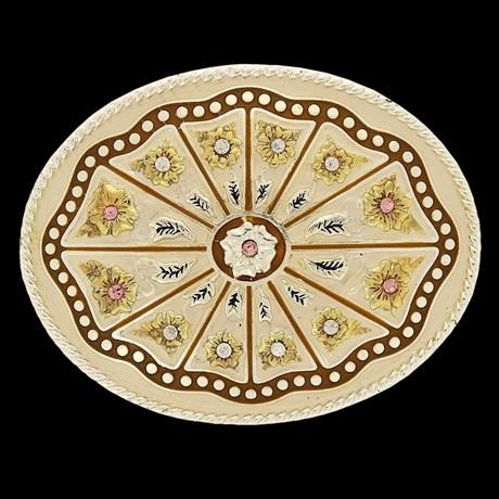 Fivela Master com Banho Dourado / Prata e Detalhes em Strass 14484