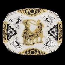 Fivela Master Laço em Dupla com Banho Dourado e Prata - 18556
