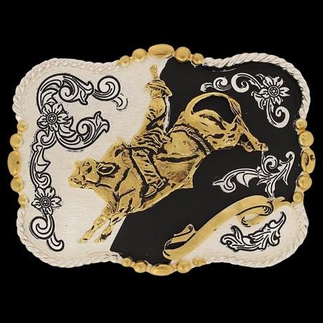 Fivela Master Montaria em Touro com Banho Dourado / Prata 13785