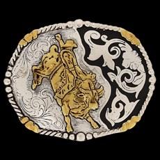 Fivela Master Montaria em Touro com Banho Dourado / Prata 13786